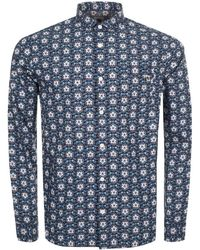 Pretty Green - Patricroft Printed Shirt Navy - Lyst