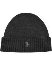 Ralph Lauren Beanie Hat Grey - Gray