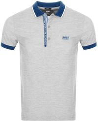 BOSS Athleisure Paule 4 Jersey Polo T Shirt - Gray