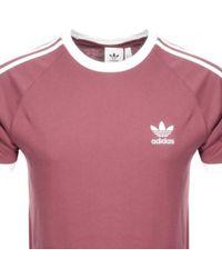 adidas - Originals California 3 Stripes T Shirt Pink - Lyst