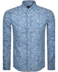 Pretty Green Long Sleeved Slim Paisley Shirt - Blue
