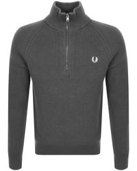 Fred Perry Half Zip Knitted Sweater - Gray