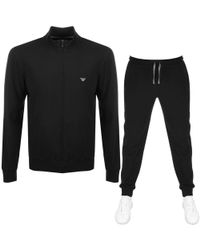 Armani Emporio Lightweight Lounge Tracksuit Black
