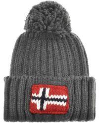 Napapijri - Semiury Bobble Hat Grey - Lyst