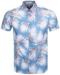 Ted Baker Short Sleeved Hedgehog Shirt - Blue