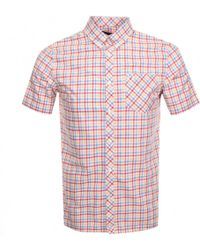 Fred Perry Short Sleeved Gingham Shirt Red