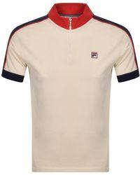 Fila Parrini Half Zip Polo T Shirt - Natural