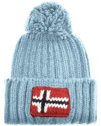 Napapijri - Semiury Bobble Hat Blue - Lyst