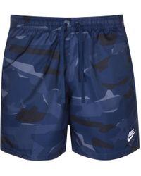 Nike Camouflage Logo Swim Shorts Navy - Blue