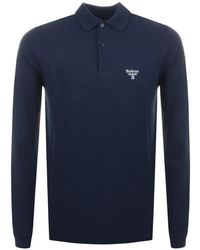 Barbour Long Sleeved Polo T Shirt - Blue