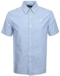 Fred Perry Short Sleeved Stripe Shirt - Blue