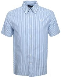 Fred Perry Short Sleeved Stripe Shirt Blue