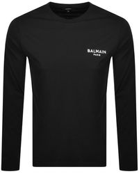 Balmain Logo Ls T Shirt - Black