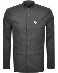 Fred Perry Long Sleeved Grandad Collar Shirt Gray - Black