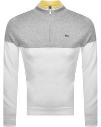 Lacoste Half Zip Logo Sweater - White