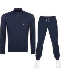 Armani Emporio Lightweight Lounge Tracksuit - Blue