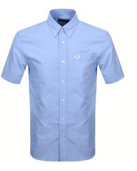 Fred Perry Short Sleeved Oxford Shirt - Blue