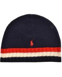 Ralph Lauren - Flag Beanie Hat Navy - Lyst