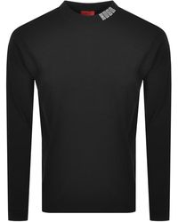 HUGO Dotch Long Sleeve T Shirt - Black