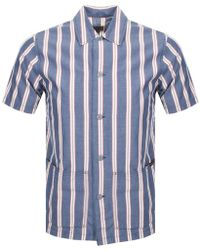 Nudie Jeans - Nudie Svante Cuban Stripe Blue Shirt - Lyst