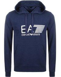 EA7 - Visibility Logo Hoodie Blue - Lyst