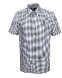 Fred Perry Short Sleeved Gingham Shirt Navy - Blue