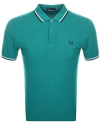 Fred Perry Twin Tipped Polo T Shirt - Green