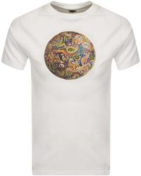 Pretty Green Paisley Football Logo T Shirt - White