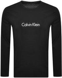 Calvin Klein Long Sleeve Logo T Shirt - Black
