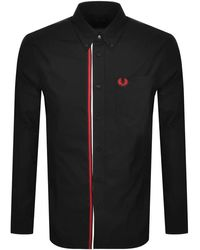 Fred Perry Long Sleeved Taped Placket Shirt - Black