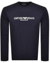 Armani Emporio Crew Neck Logo Sweatshirt - Blue