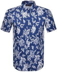 Michael Kors Short Sleeved Coral Shirt - Blue