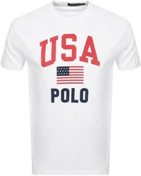 Ralph Lauren Classic Fit Usa Flag T-shirt, White Tee