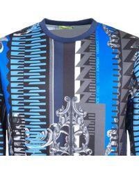 Versace Jeans - Patterned Sweatshirt Blue - Lyst