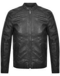 Superdry Leather Racer Jacket - Black