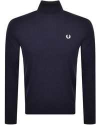 Fred Perry Roll Neck Knit Jumper - Blue