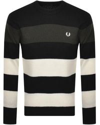 Fred Perry Crew Neck Striped Knit Jumper - Black
