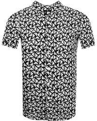 Armani Emporio Short Sleeved Slim Fit Shirt Black