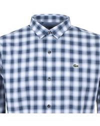 Lacoste L!ive - Long Sleeved Checked Shirt Blue - Lyst
