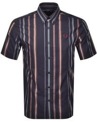Fred Perry Striped Short Sleeved Shirt - Blue