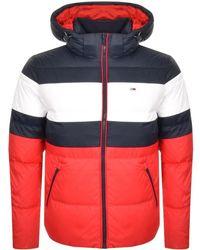 Tommy Hilfiger - Rugby Stripe Puffer Jacket Navy - Lyst