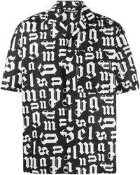 Palm Angels Broken Monogram Shirt Black/white
