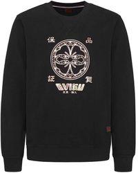 Evisu Foil Print Applique Sweatshirt Black