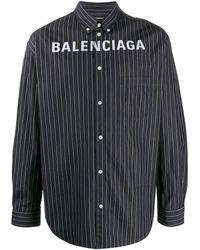 Balenciaga Pinstriped Logo Buttoned Shirt - Black