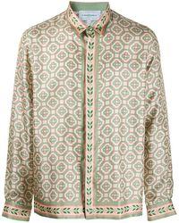 CASABLANCA Printed Silk Laurel Monogram Shirt - Multicolor