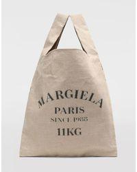 Maison Margiela XL-Shopper aus Leinen - Natur