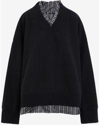 Maison Margiela デストロイド Vネック スウェットシャツ - ブラック
