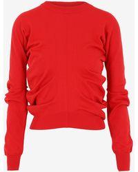 Maison Margiela Top drappeggiato in maglia - Rosso