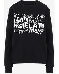Maison Margiela ディストーテッド ロゴ スウェットシャツ - ブラック