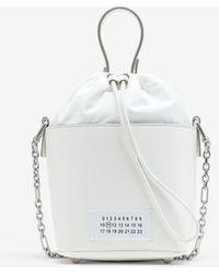 Maison Margiela テクスチャードレザー バケットバッグ - ホワイト